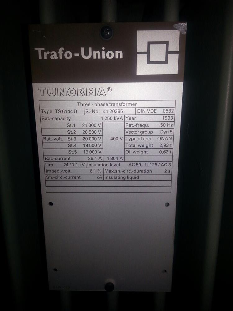 Image TUNORMA Transformer - 1250kVA 836348