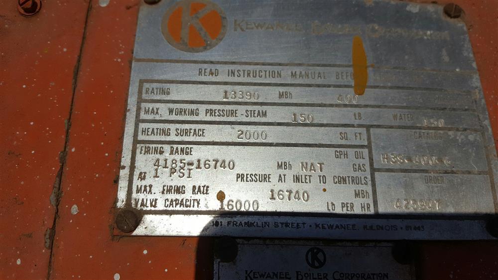 Image KEWANEE Steam Boiler 850422