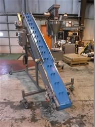 "289280 - 10"" x 126"" Stainless Steel Sanitary Inclined Cleated Blue Belt Conveyor"