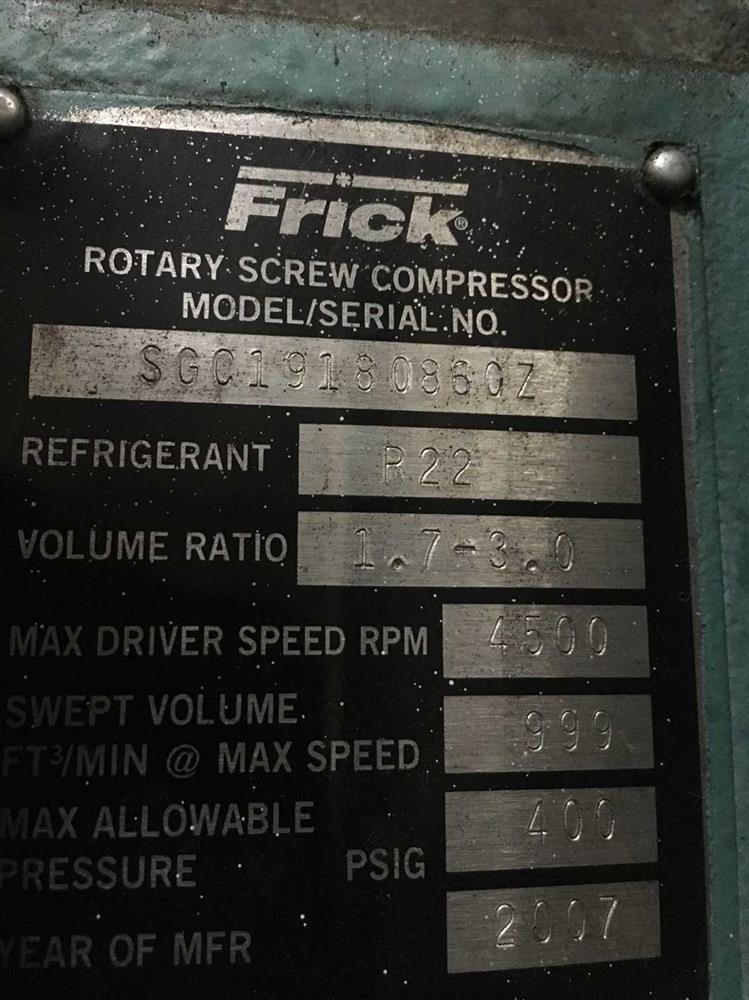 Frick Screw Compressor 290968 For Sale Used N A