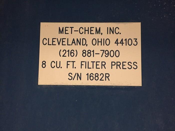 Image MET-CHEM Plate and Frame Filter Press 908633