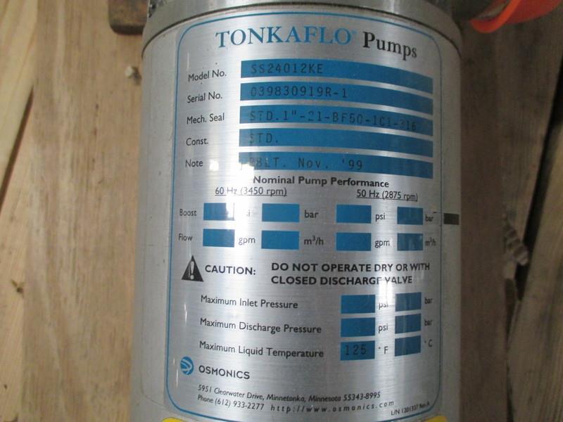 Image GE OSMONICS TonkaFlo RO System Pump - Model SS24012KE 914620