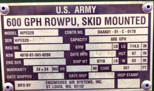 Image 600 GPH Army Surplus Reverse Osmosis 912538