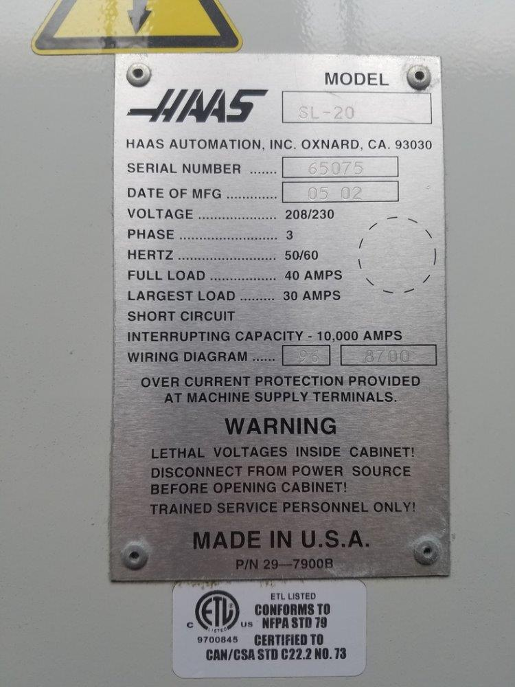 HAAS SL-20 CNC Turning - 295081 For Sale Used N/A on