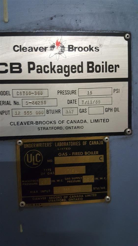 Image CLEAVER BROOKS CB700-300 Boiler 929776