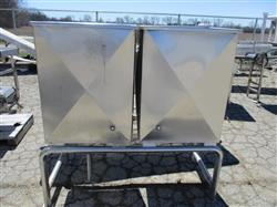 299531 - 2 Stainless Steel Square CIP Tanks - Approx 50 Gallons Each On Common Frame