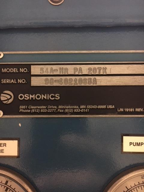 Image OSMONICS Reverse Osmosis System - Model 54A-HRPA207K 1140482