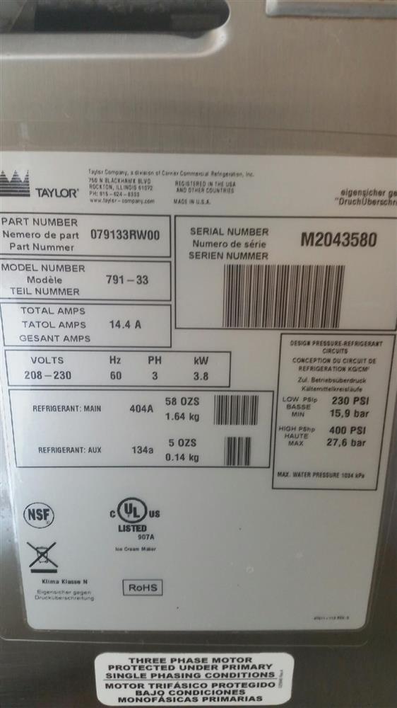 Image TAYLOR Soft Serve 3 Head Ice Cream Machine - Model 791-33 947328
