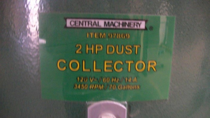 Image CENTRAL MACHINERY 97869 Baghouse Dust Collector 952759