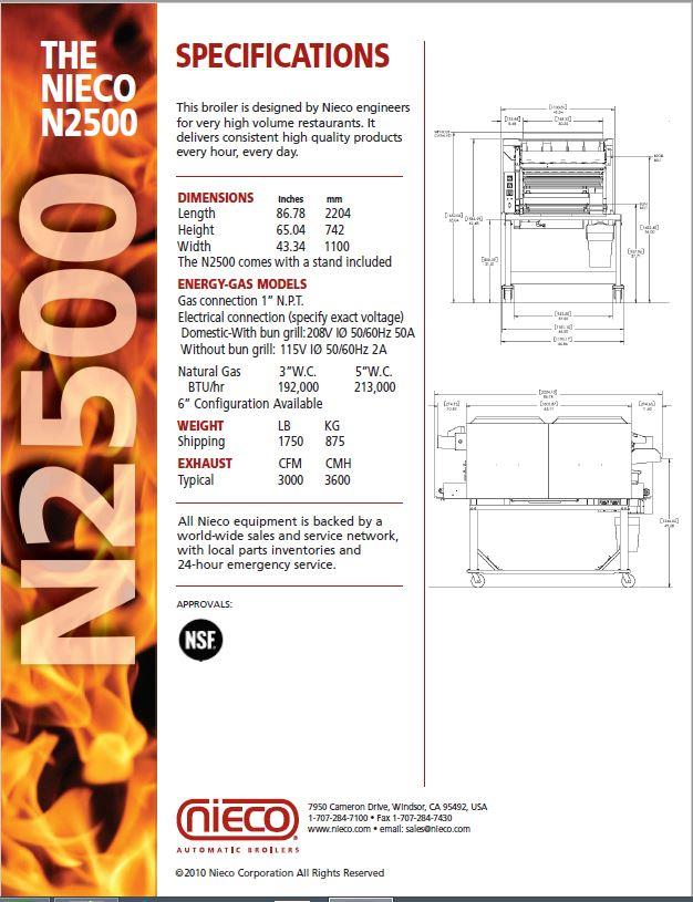 NIECO N2500 Flame Broiler - 315371 For Sale Used on