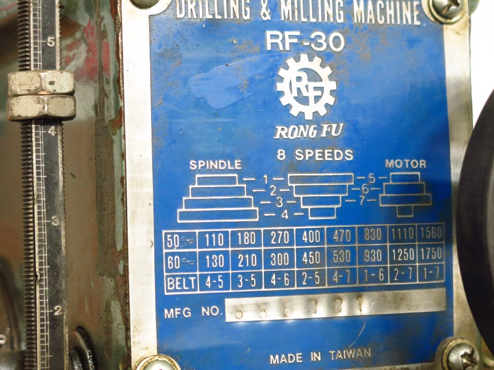 Image RONG FU RF-30 Vertical Mill 1014304