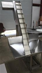 317319 - COZZOLI Incline Cleated Conveyor and Hopper - Stainless Steel, Pharma Grade, Heavy Duty