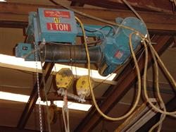 321473 - 1 Ton SATURN ENGINEERING Cable Hoist on a Trolley