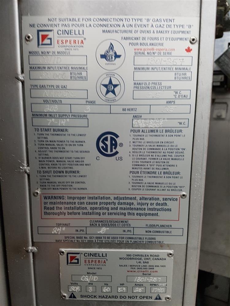 Image CINELLI CG/ID Double Rack Oven 1051136