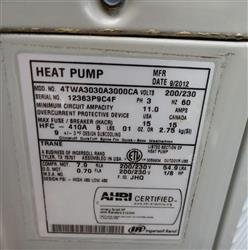 326141 - TRANE Heat Pump - 3 Phase