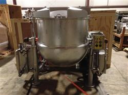 329817 - 100 Gallon CLEVELAND Direct Tilting Steam Kettle - Cook, Chill, Horizontal, Agitation, NSF