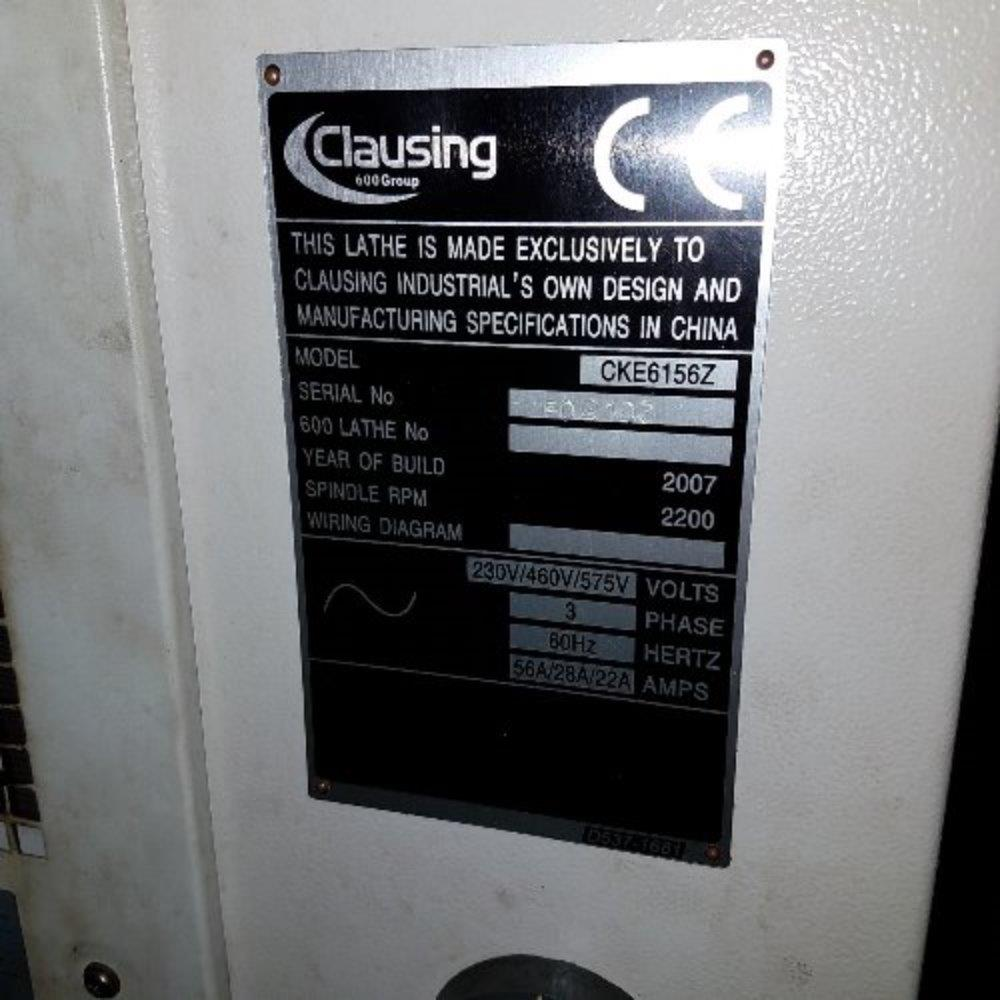 Clausing Flatbed Cnc Lathe 339126 For Sale Used Wiring Diagram Image Model Cke5156z 1136949