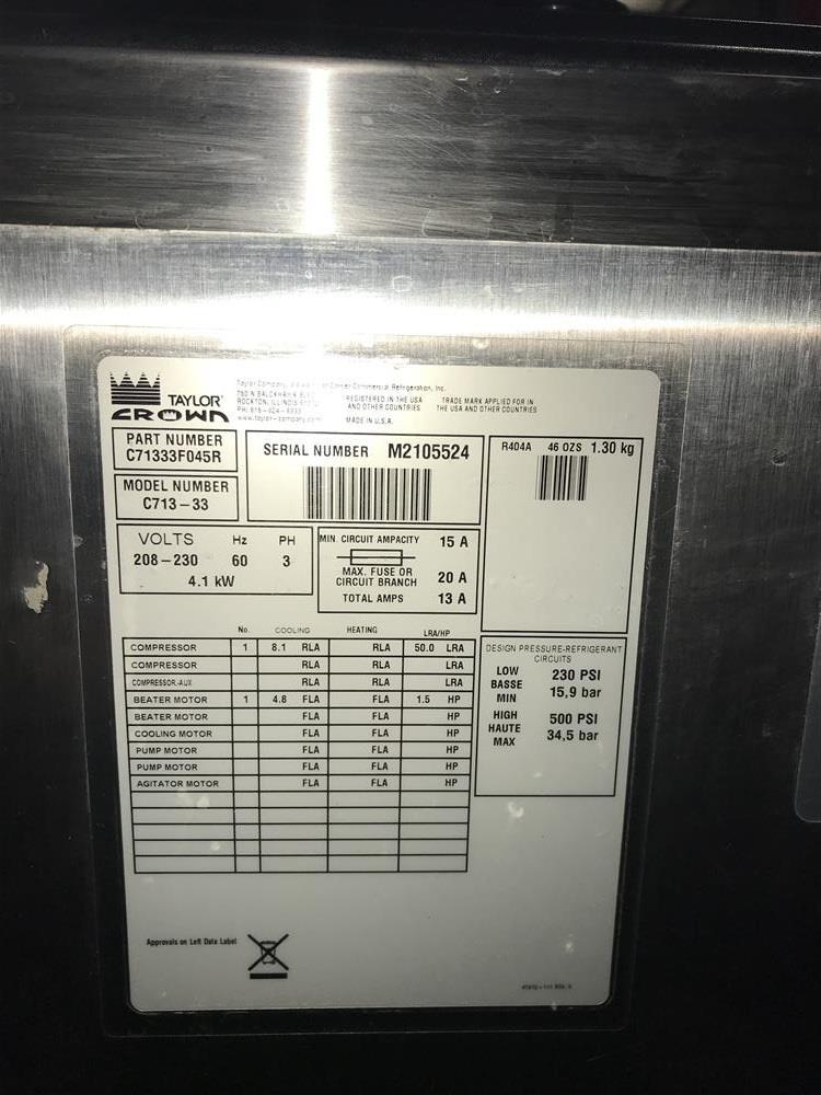 Image TAYLOR C713-33 Soft Serve Machine - 2-Flavor Plus Twist 1280197