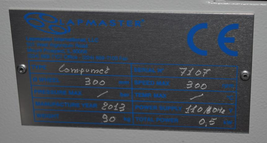 Image LAPMASTER COMPUMET 300 Programmable Auto Polisher Pressure Sample Holders 1320249