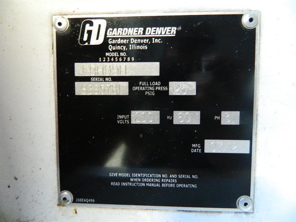 50 HP GARDNER DENVER Ro 350176 For Sale Used N A