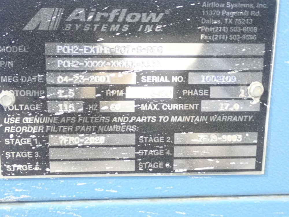 AIRFLOW SYSTEMS PCH2-EX - 353359 For Sale Used N/A