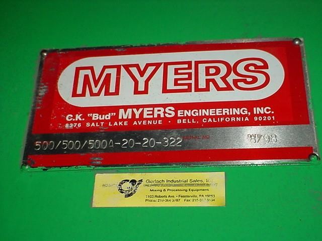 Image 100 Gallon MYERS Double Planetary Mixer with Sweep 1370728