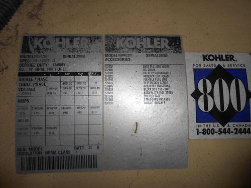 Image 400 KW KOHLER Diesel Generator 1371428