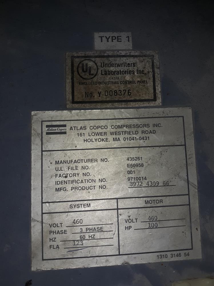 Image 100 HP ATLAS COPCO Air Compressor 1377097