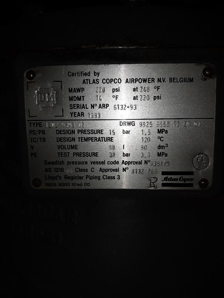 Image 100 HP ATLAS COPCO Air Compressor 1377101