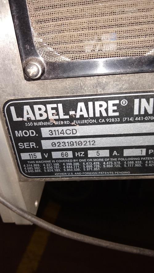Image LABEL-AIRE 3114CD Labeler 1378783