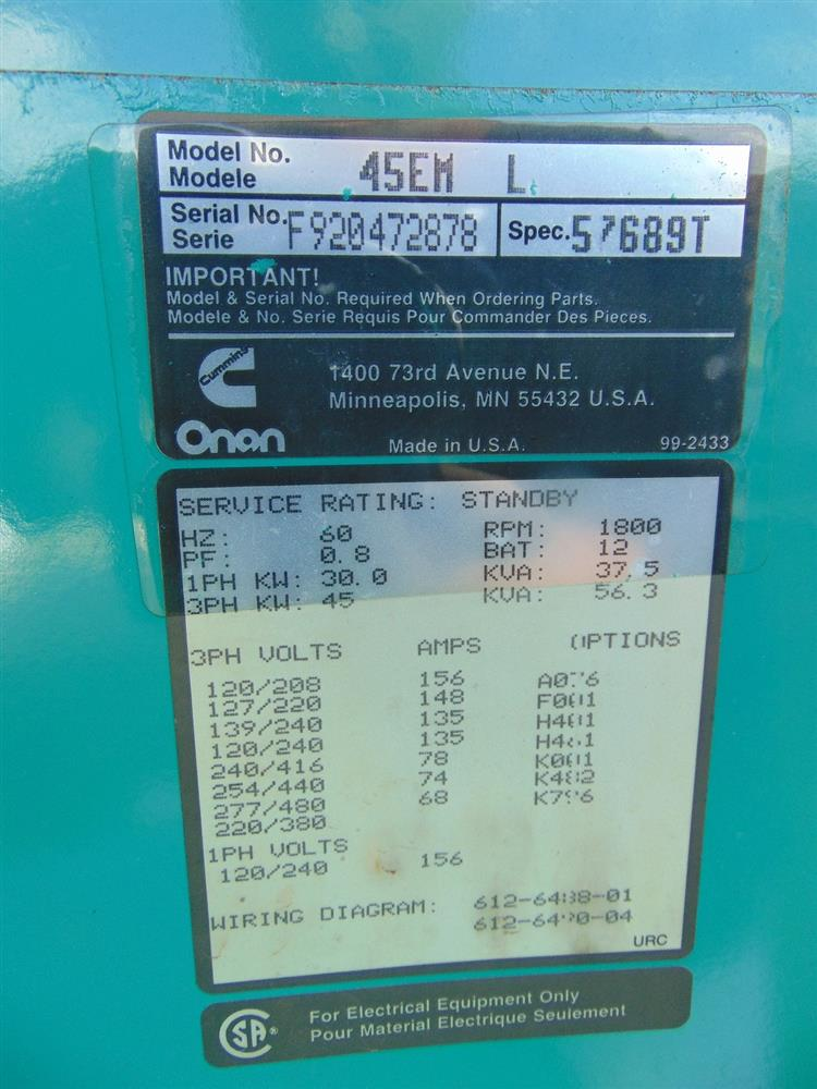 45 kW ONAN Generator on an - 359775 For Sale Used