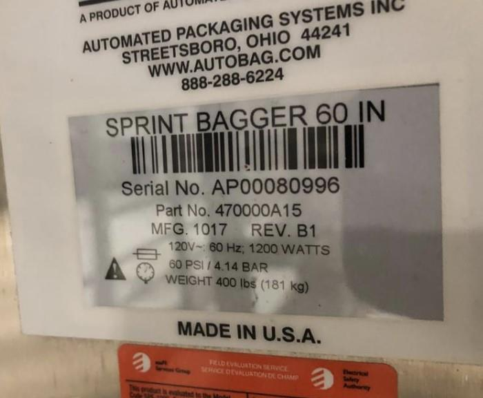 Image AUTOMATED PACKAGING SPrint Auto Bagger Side Pouch 1467753