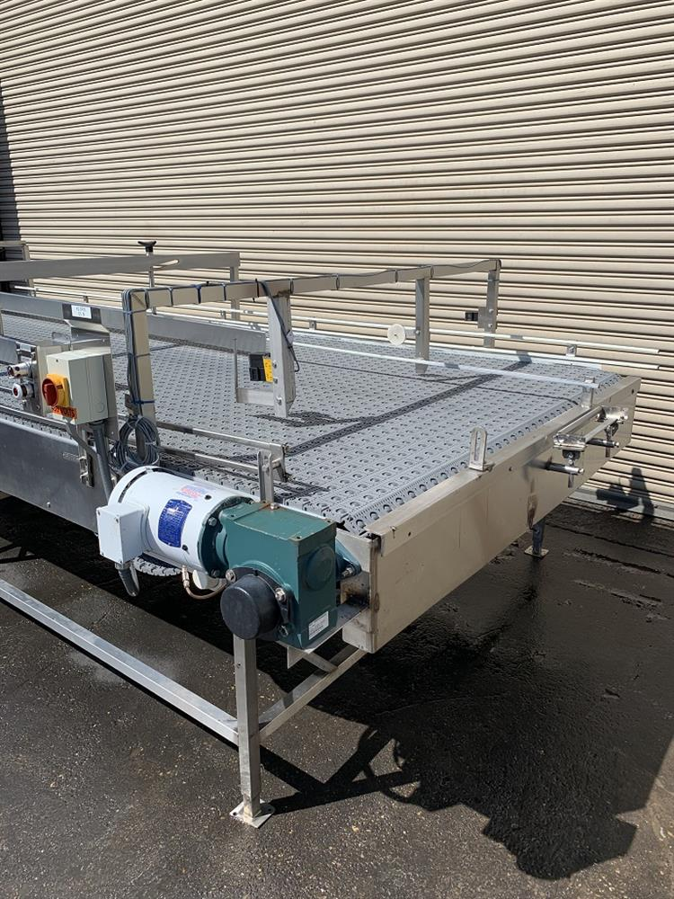 Image 6ft x 16ft LAUGHLIN Stainless Accumulation Case Divert Transfer Conveyor Table 1411580