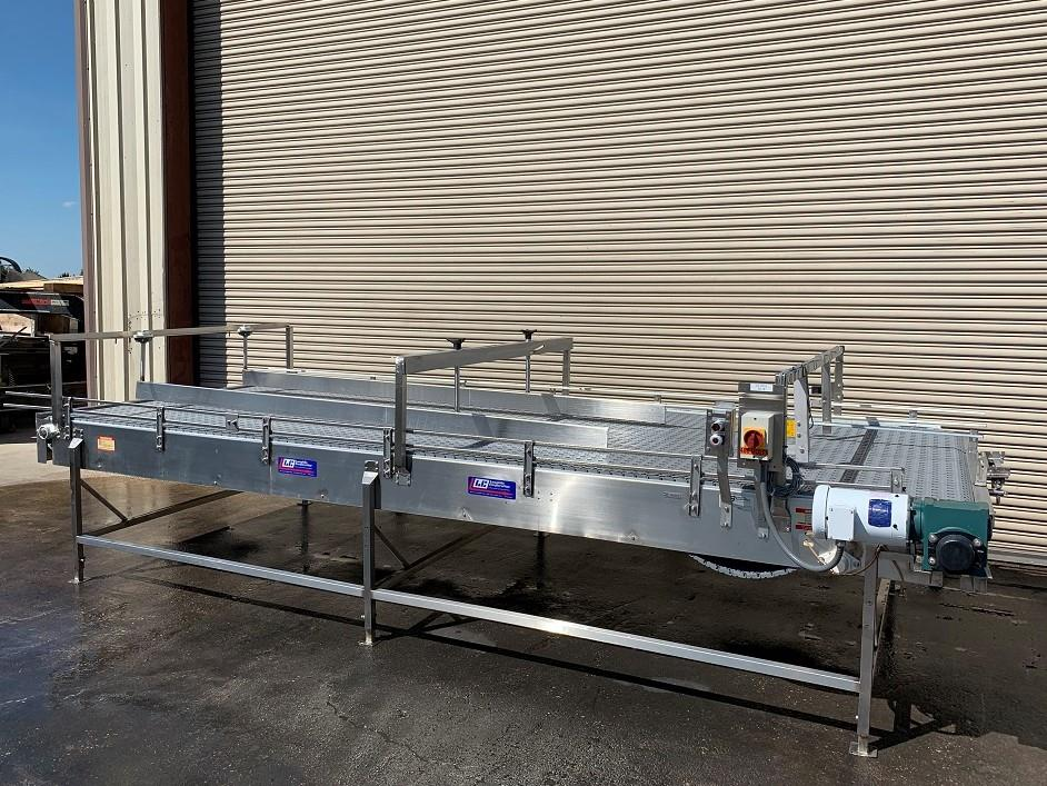 Image 6ft x 16ft LAUGHLIN Stainless Accumulation Case Divert Transfer Conveyor Table 1411584