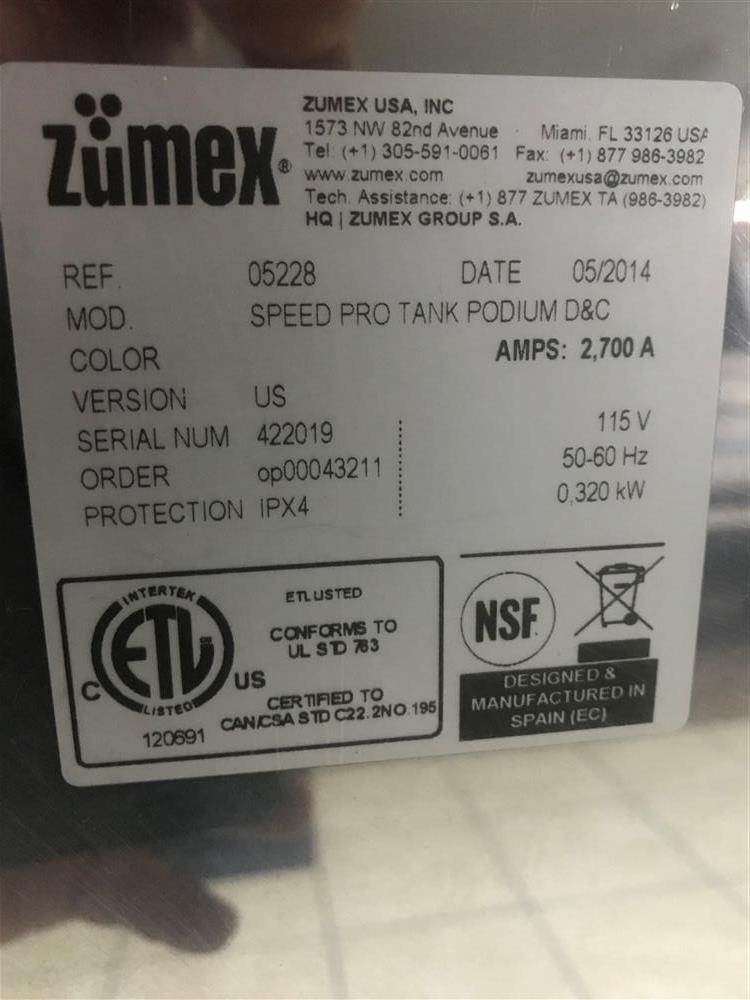 Image ZUMEX Speed Pro Tank Podium Juicer 1439427