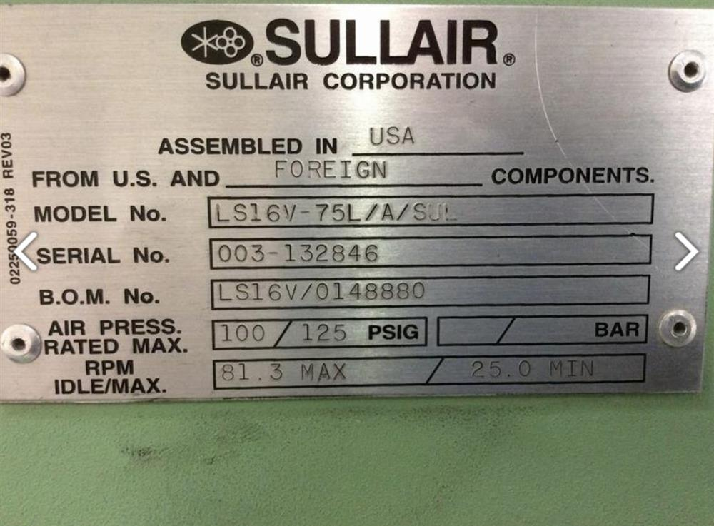 Image 75 HP SULLAIR LS-16V Air Compressor - Variable Speed 1446255
