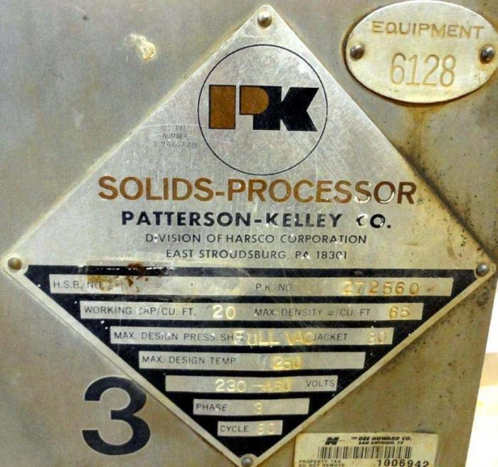 Image 20 Cu. Ft. PATTERSON KELLEY Twin Shell Solids Processor 1447267