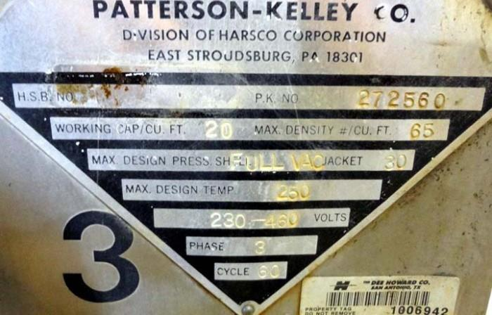 Image 20 Cu. Ft. PATTERSON KELLEY Twin Shell Solids Processor 1447268
