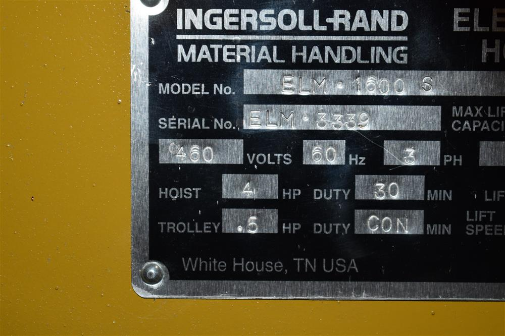 Image 16 Ton INGERSOLL RAND/CHESTER Hoist and YALE Overhead Crane 1447450