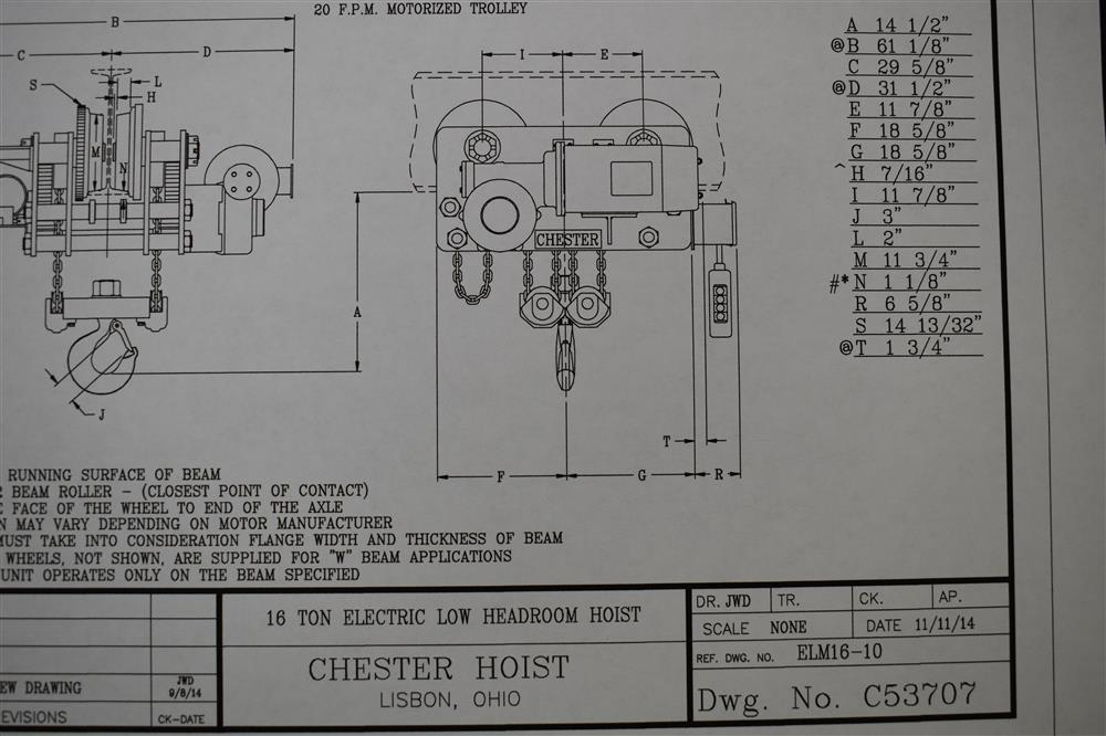 Image 16 Ton INGERSOLL RAND/CHESTER Hoist and YALE Overhead Crane 1447462