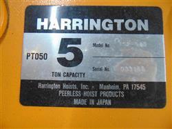 Image 5 Ton HARRINGTON Crane Hoist with Pendant Control 1451014