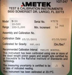Image AMETEK Pneumatic Deadweight Tester - Model T-50 1453555