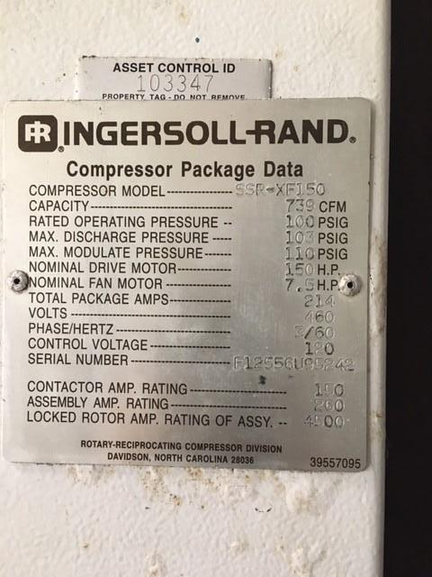 Image 150 HP INGERSOLL RAND Rotary Screw Air Compressor 1455679