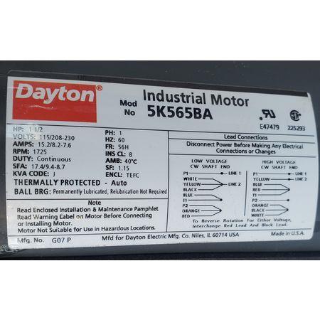 Image 1.5 HP DAYTON 4C661B Tubeaxial Belt Driven Fan 1456069