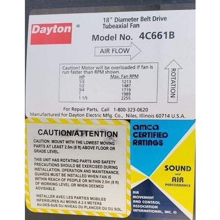 Image 1.5 HP DAYTON 4C661B Tubeaxial Belt Driven Fan 1456070