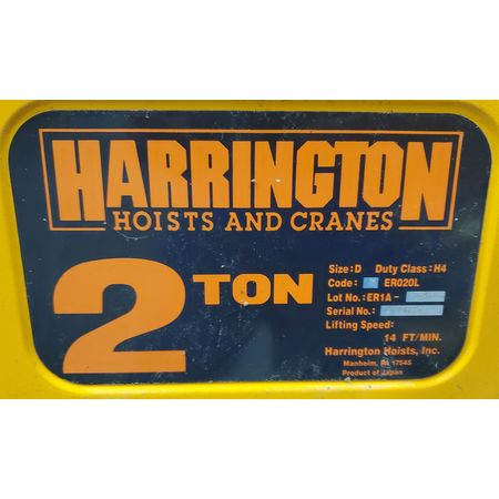 Image 2 Ton HARRINGTON Electric Hoist with Trolley 1455941