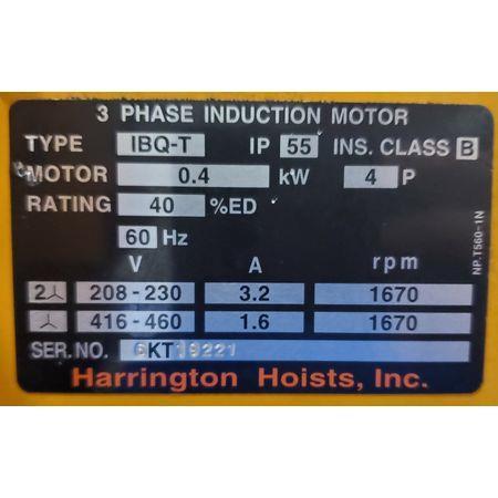 Image 2 Ton HARRINGTON Electric Hoist with Trolley 1456130