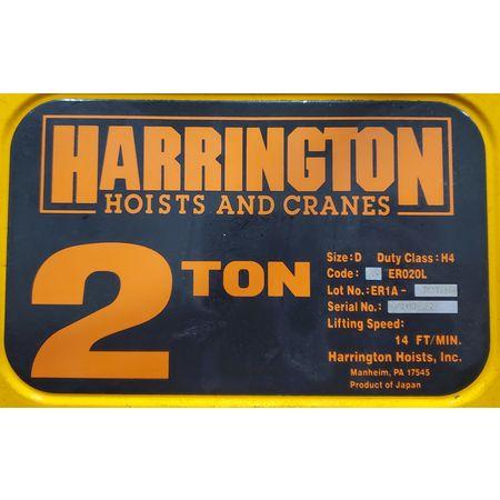 Image 2 Ton HARRINGTON HOISTS Electric Hoist with Motorized Trolley 1455998