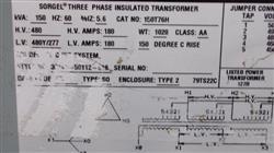 Image SQUARE D SORGEL Transformer - 150 KVA 1460303