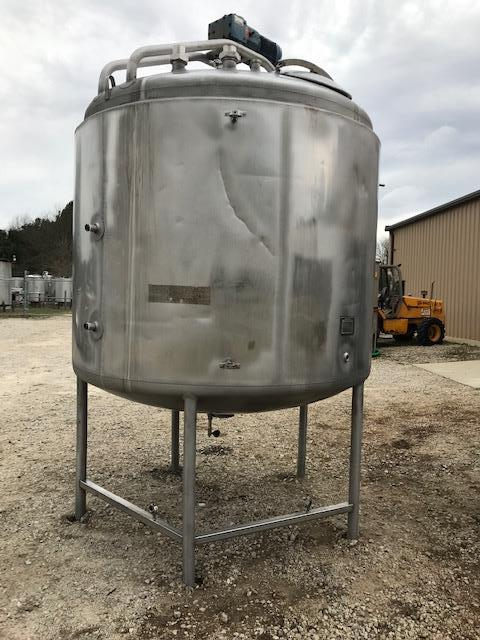 Image 1500 Gallon MUELLER Insulated Dish Bottom Mixing Tank with Bridge Mount - 316 Stainless Steel  1464770